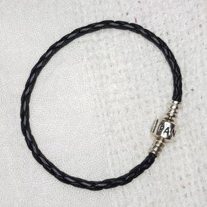 "Genuine Pandora Braided Leather Bracelet, Black 7"""